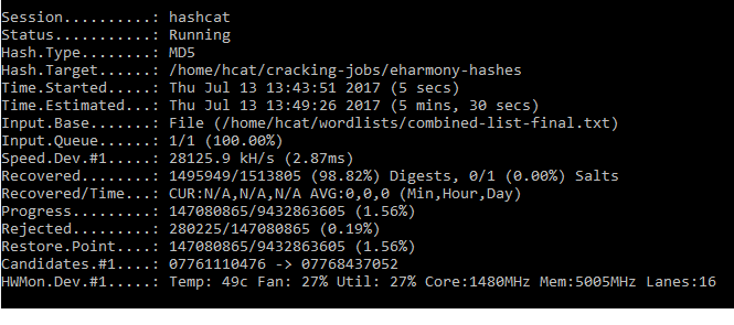 Passwort Cracking Hashcat in Aktion