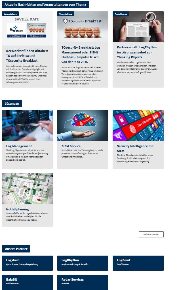 Themenseite Lösunge und Partner Website
