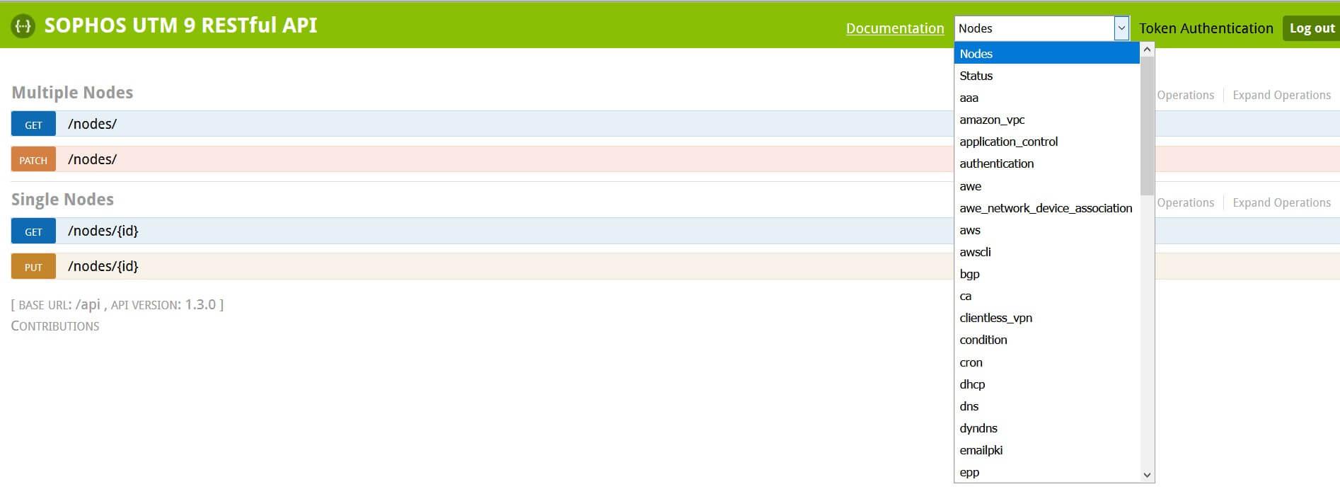 Sophos RESTful API Konfigurationspunkte
