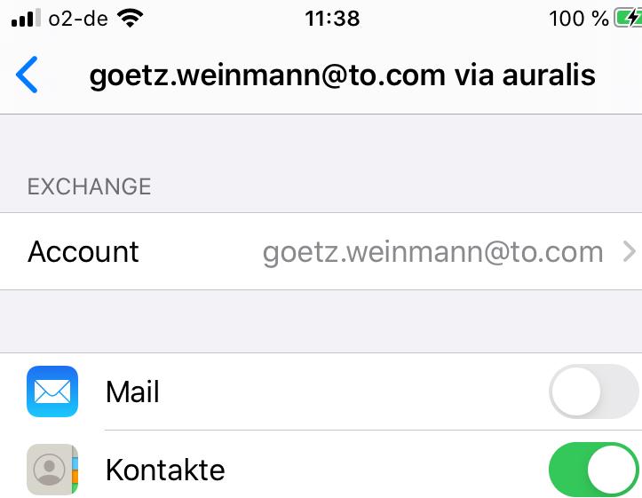 Abschalten der Synchronisation - Account Mail