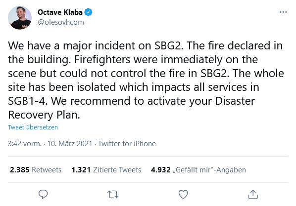 Tweet Octave Klaba zum OHV Brand auf Twitter